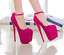 Womens-Platform-Super-High-Heels-Round-Toe-Pumps-Ankle-Buckle-Belt-Bling-Shoes thumbnail 12