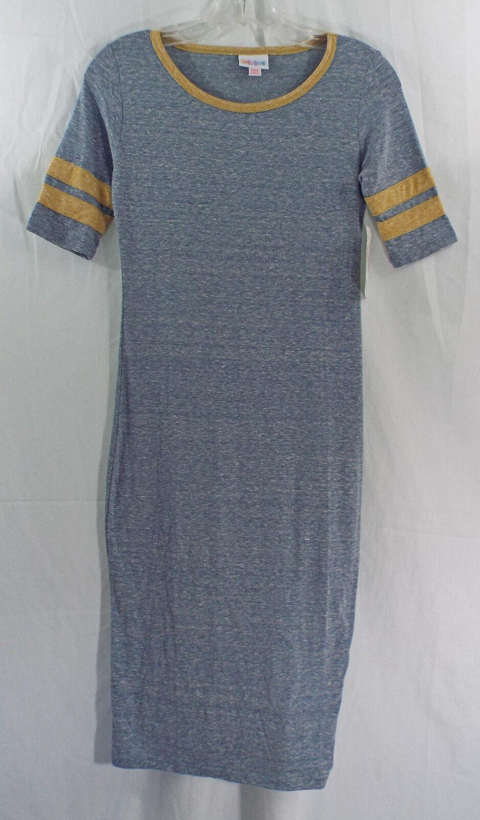 Womens LuLaRoe Dress Julia XXS in Heathered bluee gold NWT