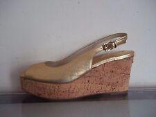 Michael Michael Kors Natalia Gold Leather Buckle Sling Sandals Size UK 6/39