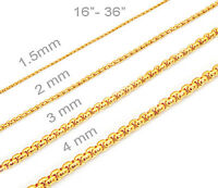 18k Gold Plated Mens Womens Stainless Steel Square Rolo Chain Chain Necklace