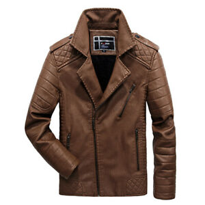 Winter-Thickened-Epaulets-Diagonal-Zipper-Faux-Leather-Jacket-for-Men