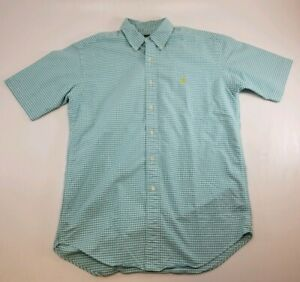 Ralph Lauren Mens Dress Shirt Light Blue White Plaid Button Down Sz L