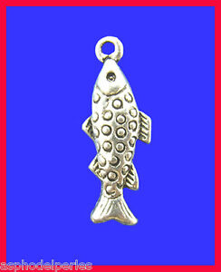 3 Pendentifs Breloques Poisson 10 X 28 Mm Belle Apparence