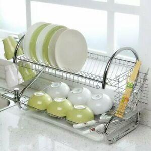 Dish-Rack-2-Tier-w-Utensil-Holder-Drainer-Drying-Kitchen-Storage-Space-Saver-U