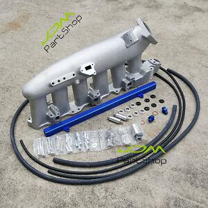 Intake-Manifold-Plenum-amp-Blue-Fuel-Rail-Bolt-On-for-Nissan-Skyline-R32-R33-RB25DET
