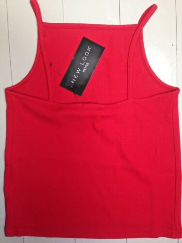 New Look Size 8 Stretch Cotton Red Ribbed Crop Cami Top Vest BNWT New With Tags
