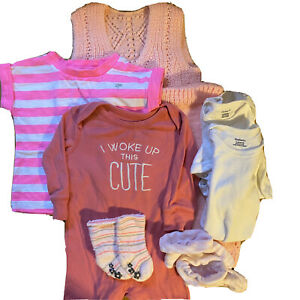Baby Pinky Clothes Bundle Shower Gift Pink Handmade Lot Baby Girl 0 3 Months Ebay