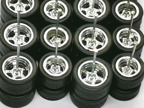 12 mm Chrome long axle fit 1:64 Hot Wheels Rubber Tires 10 sets 5 SPOKE 10