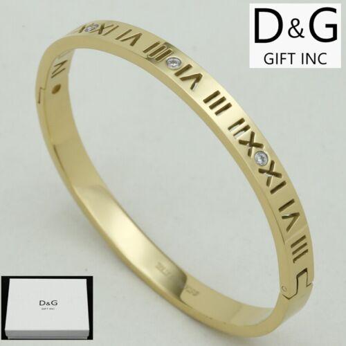 "DG Women/'s 6.5/"" Stainless Steel*Gold Roman-Numeral CZ Bangle.Bracelet,Box"