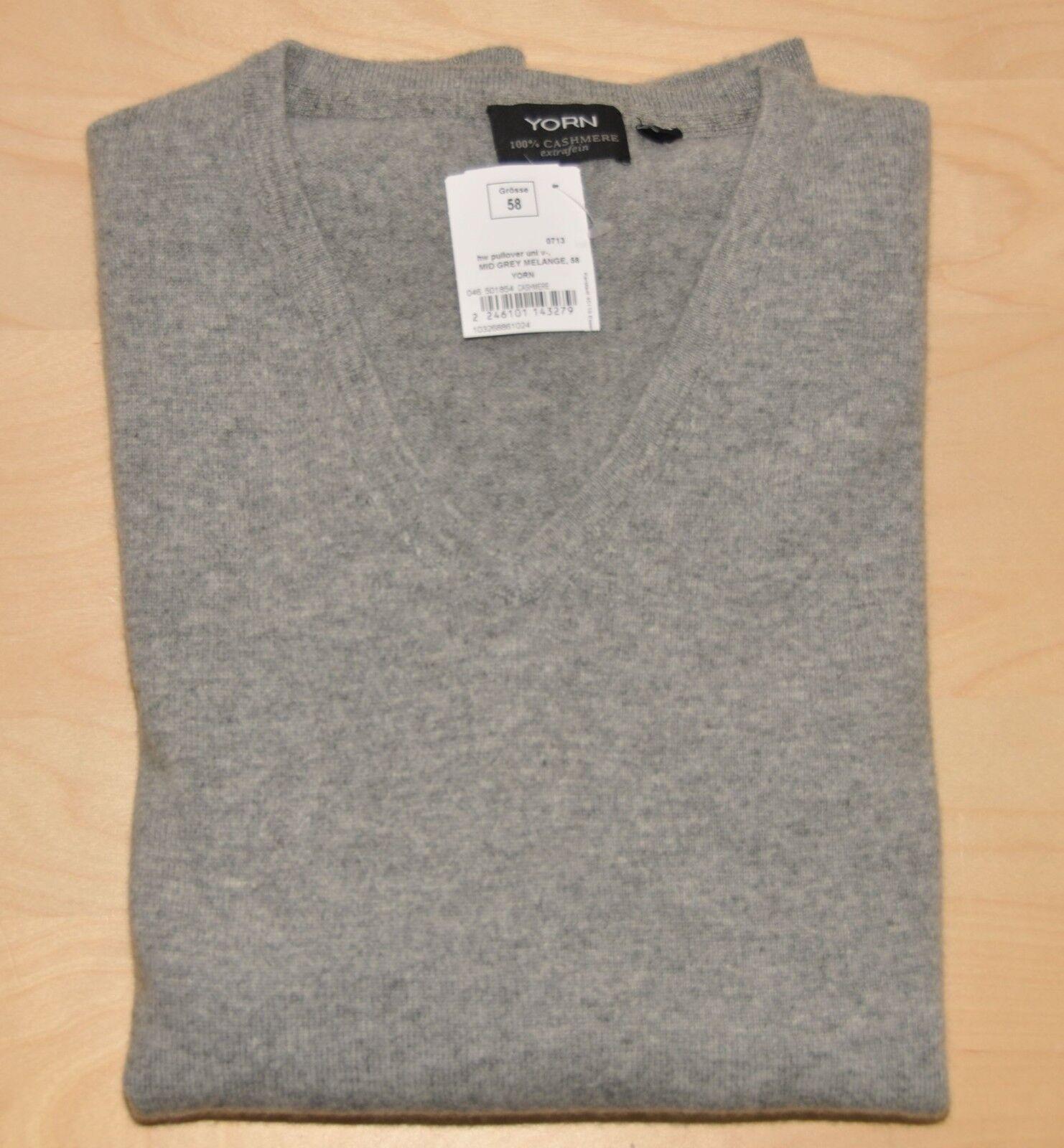 YORN  100% Kaschmir Pullover  Gr. 58  V-Ausschnitt  Grau  Mid Grau Melange