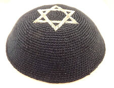 Blue Silver Star Of David Knitted Yarmulke Kippah 16 cm Jewish Kippa Hat Cupples