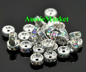 50-x-loose-spacer-beads-acrylic-plastic-silver-8mm-x-4mm-ab-colour-rhinestones