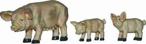 Crèches Personnages Animaux porc des espèces domesnques 3 pièces hauteur environ 4,5 cm