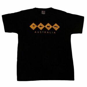 Adult-T-Shirt-Australian-Australia-Day-Souvenir-Gift-100-Cotton-Road-Signs