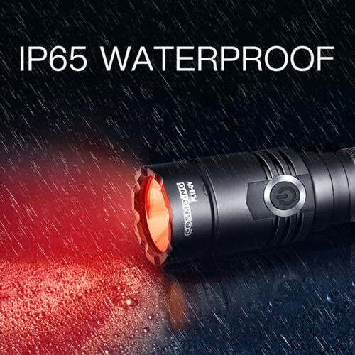 Red Light Rechargeable 400 Yards LED Tactical Flashlight Torch Lamp 18650