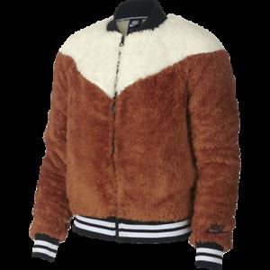 f6687a3d7 Nike Women's Sportswear Sherpa Bomber Jacket New Brown Light Cream ...