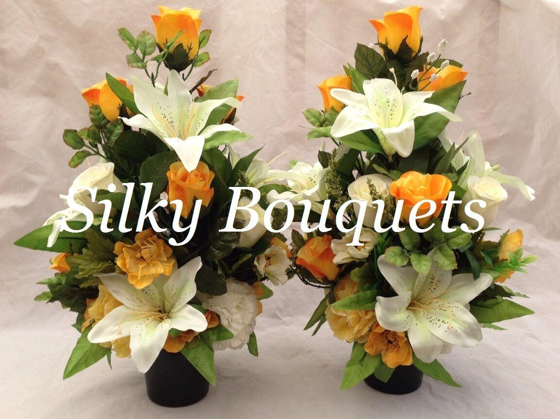 Arreglo De Flores De Seda tumba Olla Olla Amarillo Artificial par todo Lily