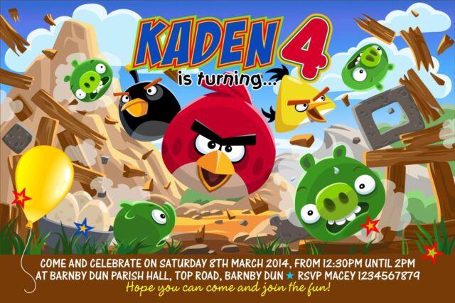 Personalised Birthday Invitations Angry Birds  x 5