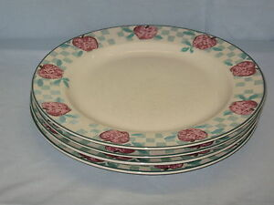 4-Tienshan-Stoneware-Dinner-Plate-10-3-4-034-Diameter-Red-Apple-Country-Check-DH35