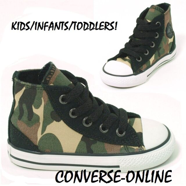c23f79806d04 KIDS Baby Toddler Boy Girl CONVERSE All Star CAMO HI Trainers Boots 21 SIZE  UK 5