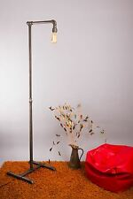Steampunk floor standing lamp with industrial look metal pipe design suits home