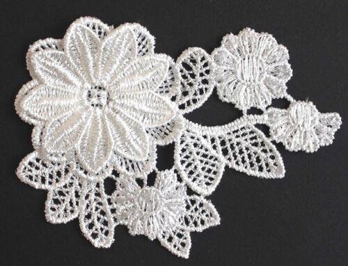 Flor de aplicación 10,3 x 8 cm crem Patch Stick punta 3d flor coser nuevo