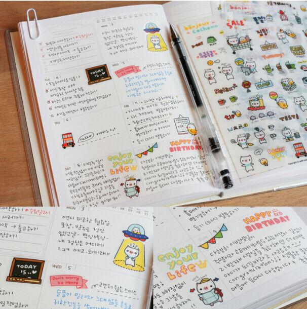 6 Sheets Pig Diary Book Sticker Scrapbook Transparent Notebook Label Decoration