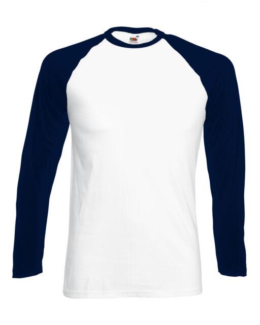 Adult Fruit of the Loom Long Sleeve Baseball Plain Cotton T-shirt - s m l xl 2xl