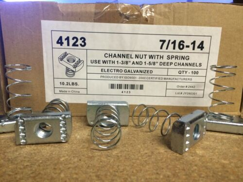 """#4123 P1009-EG 7//16/""""-14 Spring Nuts for Unistrut//B-Line Channel 50//BOX"""