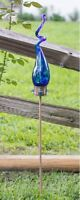 """Hand-blown Blue-colored Art Glass Solar Swizzle Stake By Echo Valley, """"saturn"""