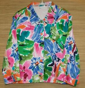 Draper-039-s-amp-Damon-039-s-Plus-Size-1X-Artsy-Bright-Floral-Button-Front-Jacket