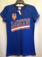 Nbl York Mets Shirt Women's Jr Small Bust 28 Length 24 With Rhinestones