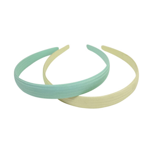 Two Headbands 3//4 Inch Wide Cream /& Mint Fabric Covered Hair Band