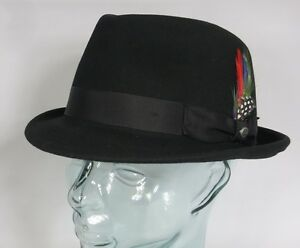384cbc2f89867 Stetson Richmond noir Petit Chapeau trilby feutre de Laine EN A NEUF ...