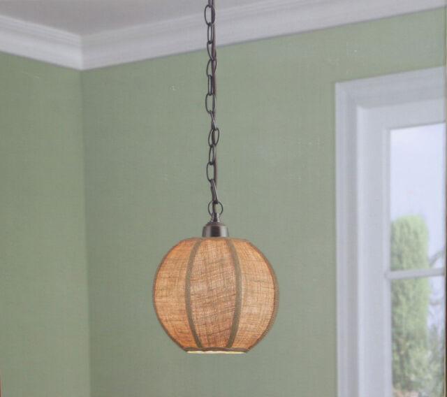 Kitchen Island Ceiling Mini Pendant 1 Light Lighting Burlap Fabric Shade Bronze