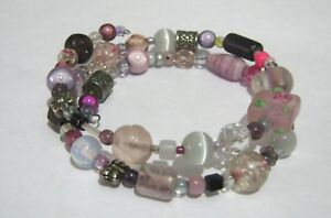 Great wraparound beaded bracelet with pink grey silver tone various designs - Newent, United Kingdom - Great wraparound beaded bracelet with pink grey silver tone various designs - Newent, United Kingdom
