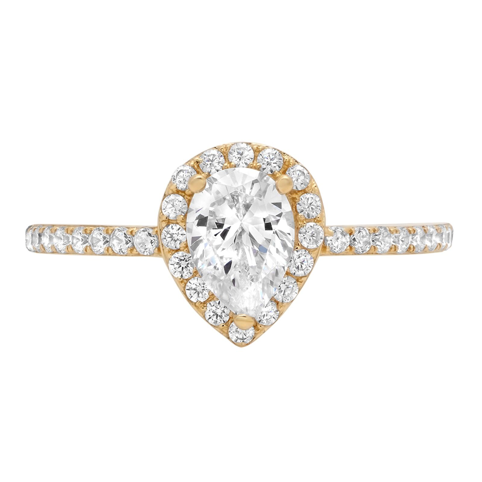 1.32ct Pear Cut Halo Wedding Promise Engagement Bridal Ring 14k Yellow gold