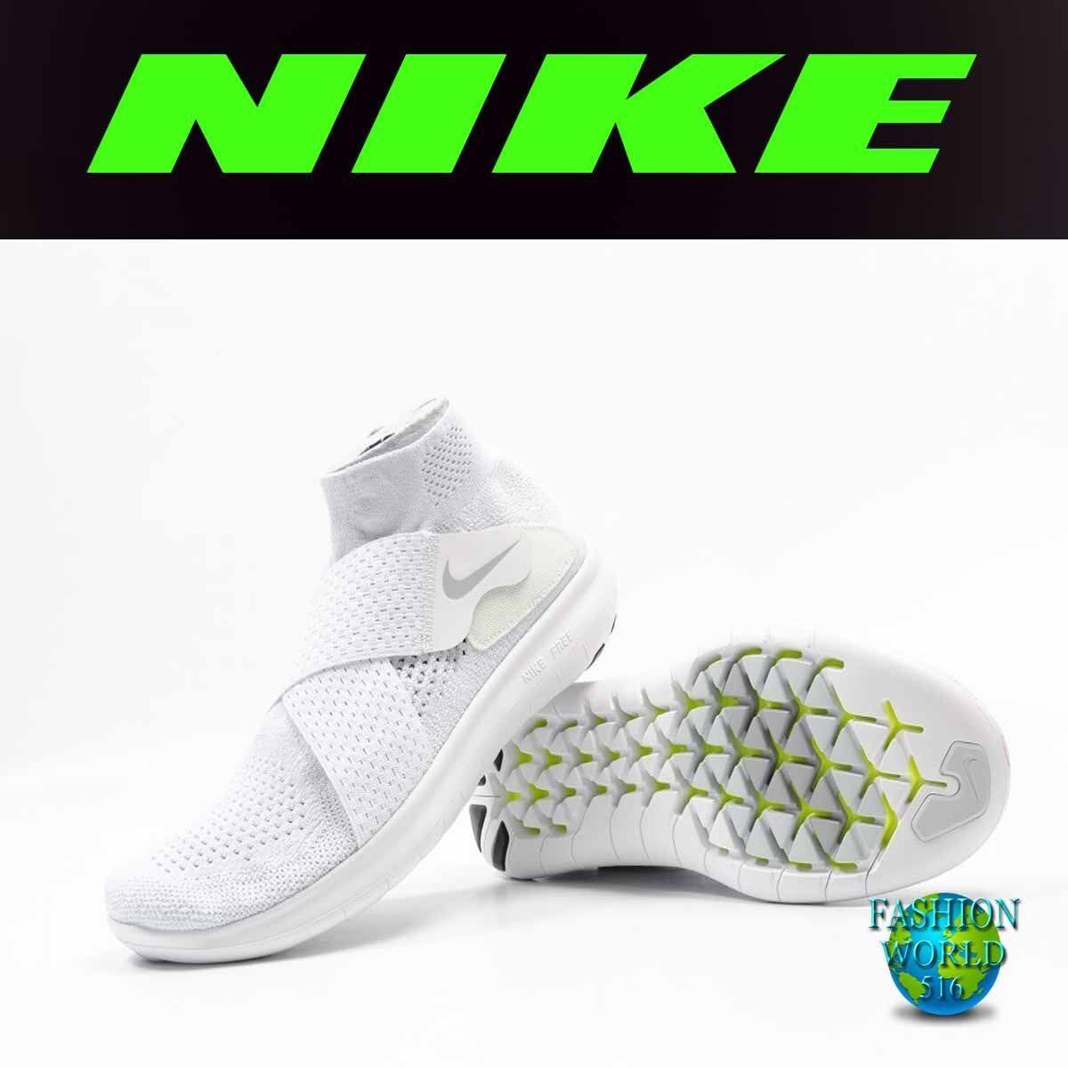Nike Men's Size 11 Free RN Motion Flyknit 2018 Running Shoes White 880845 100