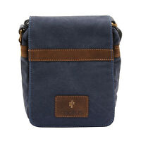 Cactus - Small Cross Body Messenger Bag In Denim Blue Canvas