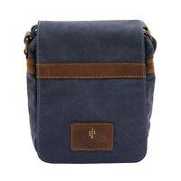 Cactus - Small Cross Body Messenger Bag In Denim Blue Canvas