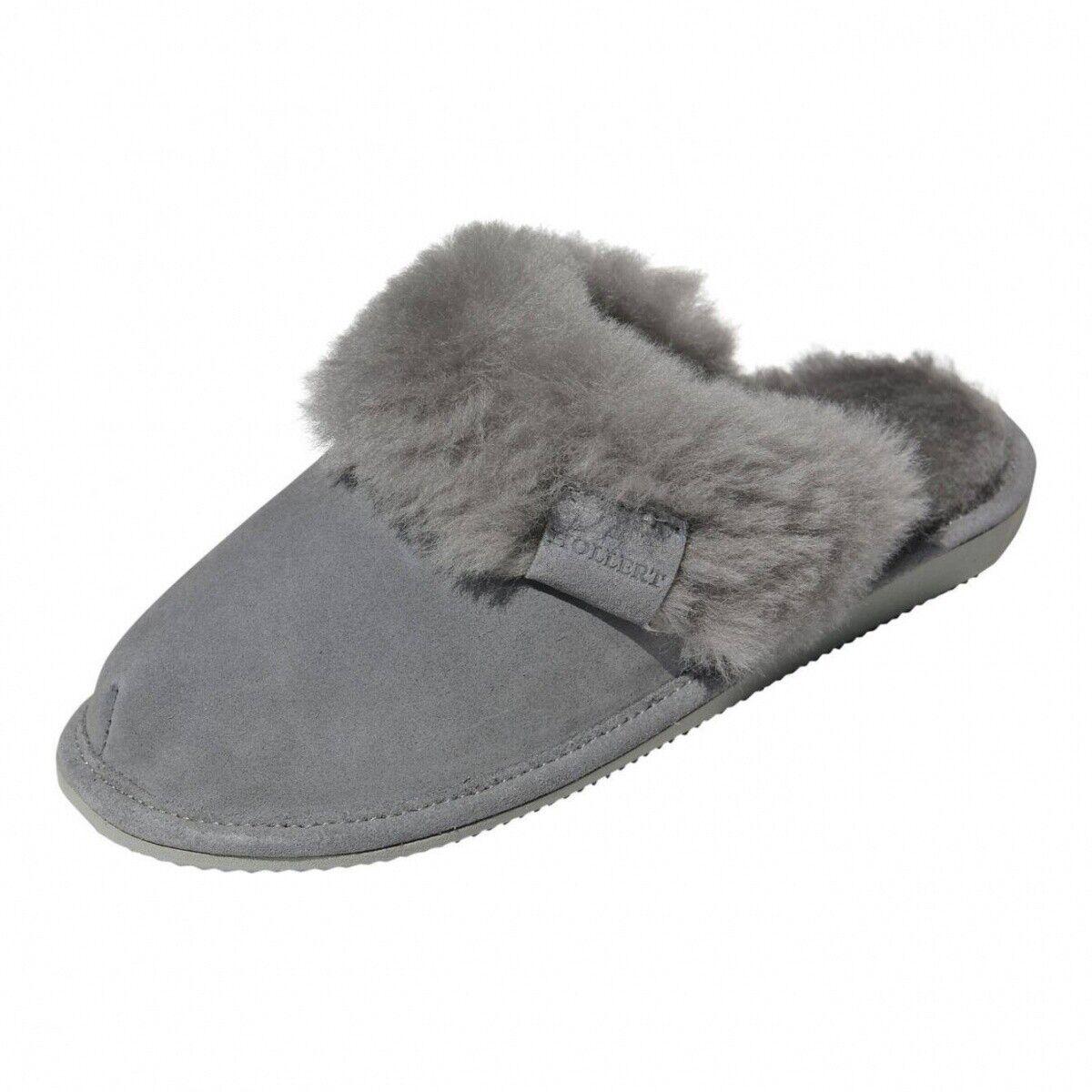 Hollert Ladies Merino Sheepskin Slippers Malibu Grey Slippers Real Leather