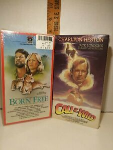 """Lot of NOS Factory Sealed VHS """"Born Free"""" 1984 Edition & """"Call Of The Wild"""" 1989"""