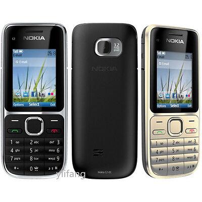 New Nokia C Series C2-01 Black Gold Unlocked English Hebrew Keyboard Bar Phone