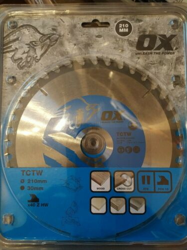 OX Circular Saw Blade TCTW 210mm 30mm Bore crosscut 40 tooth wood