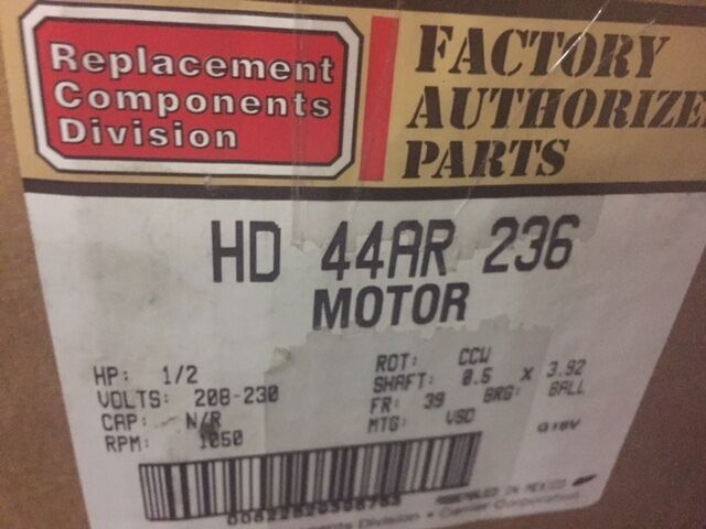 HD44AR236 Carrier Bryant Payne X13 Replacement Furnace Blower Motor 1/2 HP