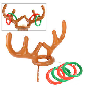 7342afe7ed650 Toss Ring + Fun Game Inflatable Reindeer Antler Hat Christmas Party ...