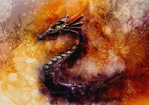 A1-Fire-Dragon-Chinese-Abstract-Poster-Art-Print-60-x-90cm-180gsm-Gift-13273