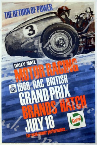 1966 British Grand Prix Motor Racing Poster A3//A4 Print