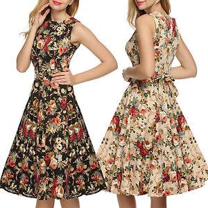 1950s-ANOS-60-Mujer-Vintage-Floral-Rockabilly-Vestido-con-vuelo-retro