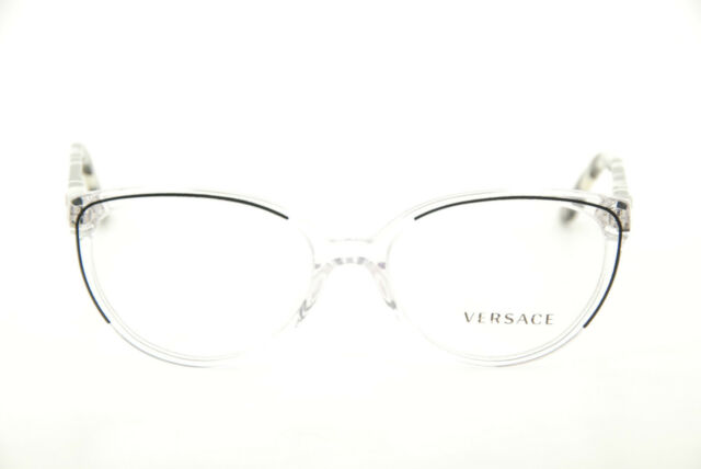 865bdfb115 New Authentic Versace Mod. 3157 960 Black Clear 52mm Frames Eyeglasses RX  Italy